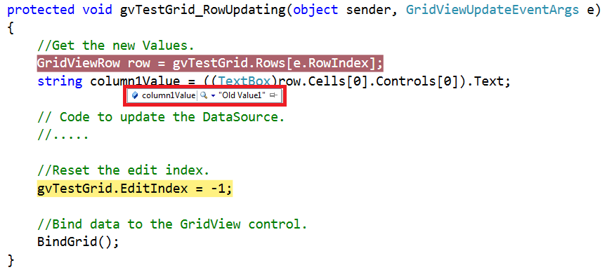 Asp net gridview rowupdating event